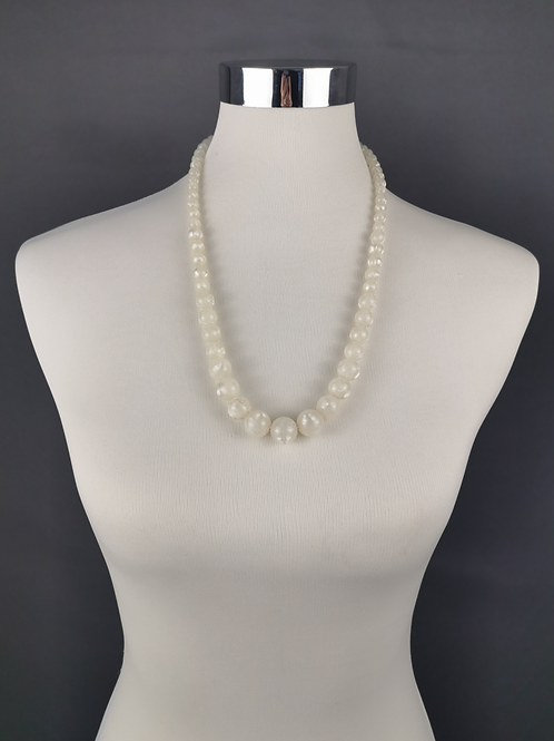 Whimsical White Beaded Necklace