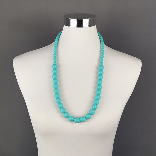 Turquoise Rubber Beaded Necklace