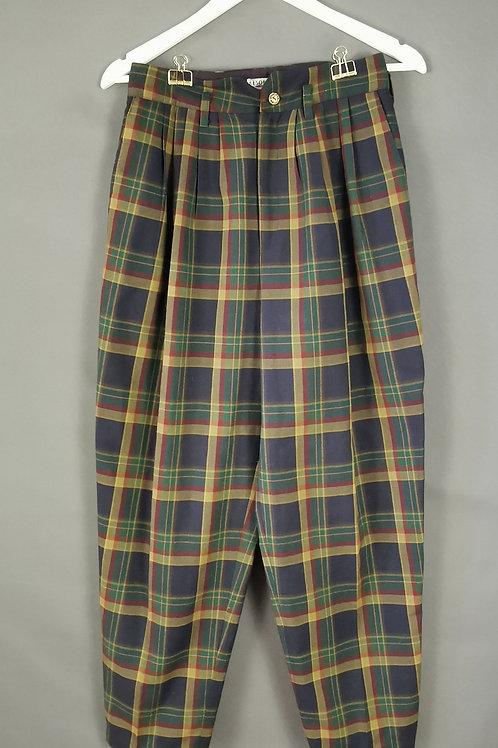 High Waisted Tartan Trousers