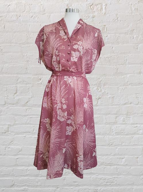1950's Dusty Rose Pink Dress
