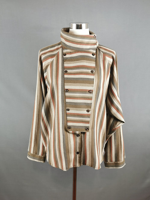 Brown Buttoned Front Panel Shirt