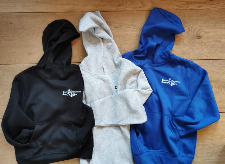 hoodie kids zwart - grijs- royal blue