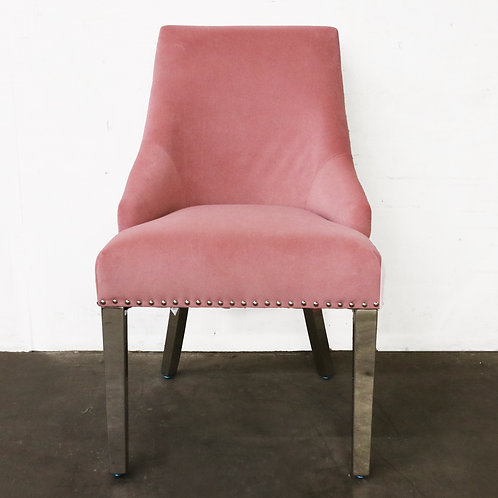 Tufted Back Pink Chair with Metal Legs