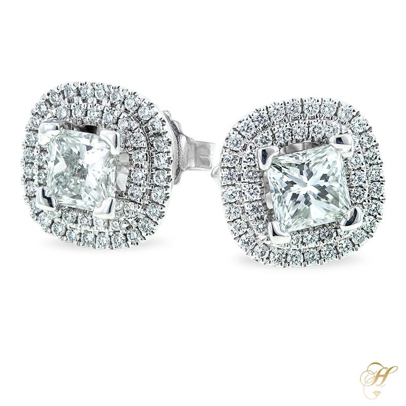 Forevermark Princess Cut Diamond Halo Earrings in 18k White Gold.jpg
