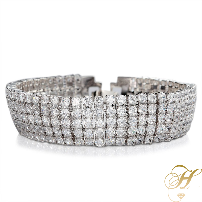 5-row-diamond-bracelet-5-row-cz-diamond-bracelet-platinum-plated-diamond-bracele