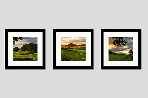 "Set of 3 Framed 10""x10"" Photographic Prints - Wensleydale Valley"