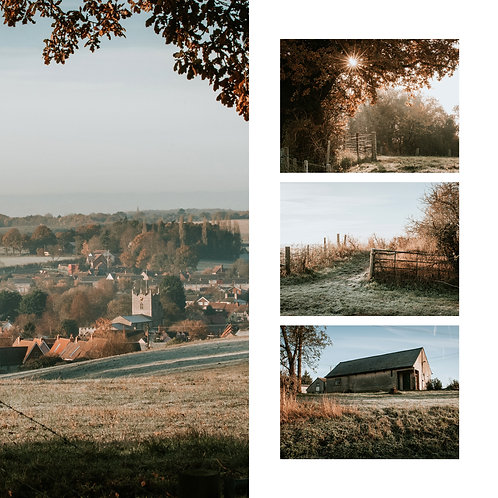Pk of 4 Square Assorted Photographic Greetings Cards - Bures Winter Collection