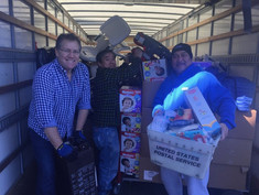 Moving donations of baby supplies.