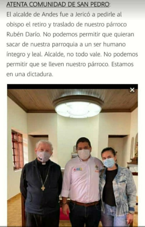 Publicación que rueda sobre presunta solicitud de traslado de párroco de San Pedro, Andes.