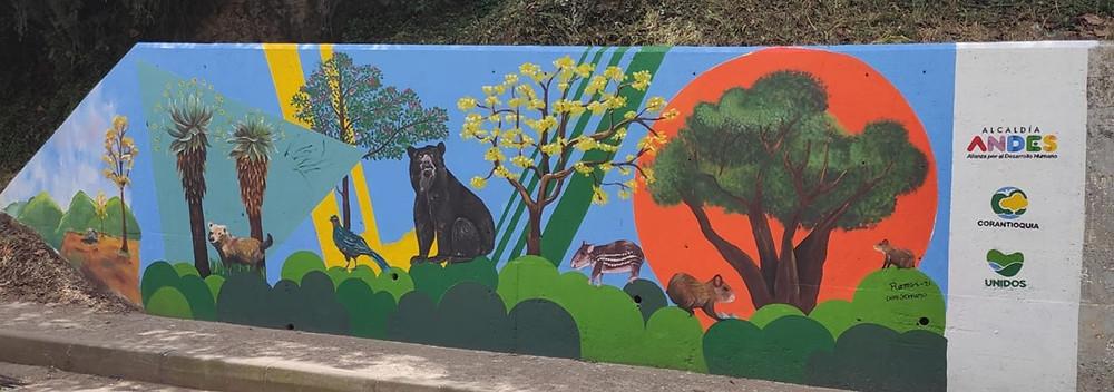Uno de los murales del maestro Ramos, en la circunvalación, sector La Cárcel