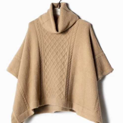 Look by M: Cable Knit Poncho