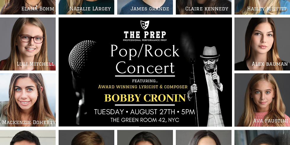 5PM Pop/Rock Concert w/ Bobby Cronin - Tuesday, August 27th at The Green Room 42, NYC