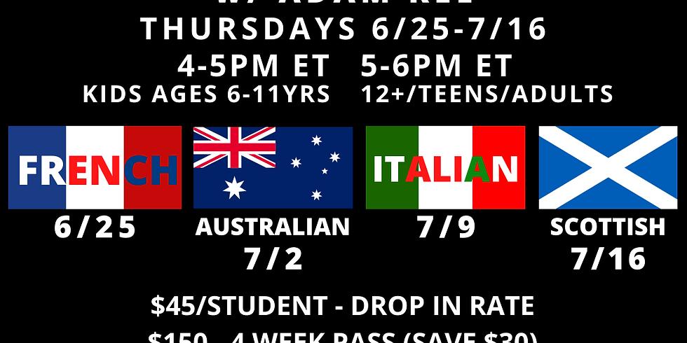 Dialects w/ Prep Faculty Adam Kee Thursdays 6/25, 7/2, 7/9, 7/16
