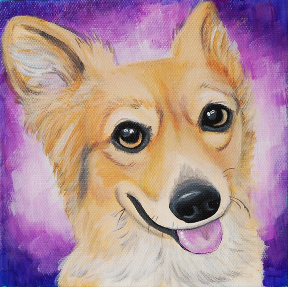 custom pet portraits, shepherd mix painting, custom pet painting, cute dog, pet portrait painting, cool gift ideas, bold bright painting of dog, dog smile. sweet smile, pet portraits from photos, funky dog art, abstract background