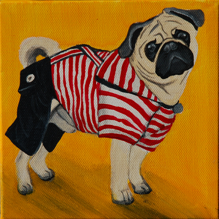 paddington the pug dressed up painting