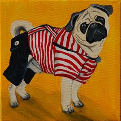 paddington the pug dressed up painting