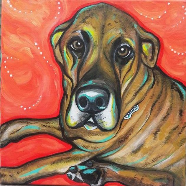 custom pet portraits, great dane painting, custom pet painting, brindle great dane, cool gift ideas, bold painting of great dane, pet portraits