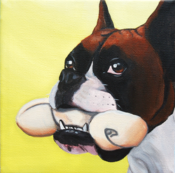 boxer holding bone in mouth painting.png