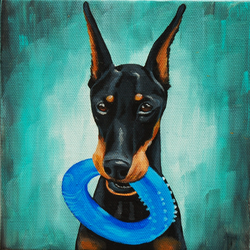 doberman pinscher painting on 6x6 inch canvas chewy.png
