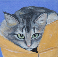 cat in cardboard box painting