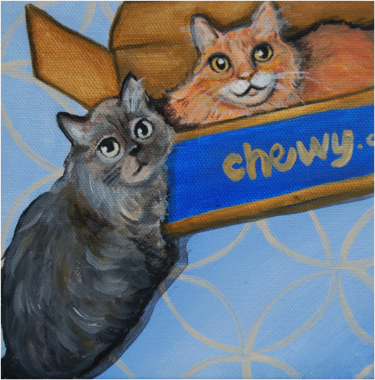 cute kittens painting in chewy box