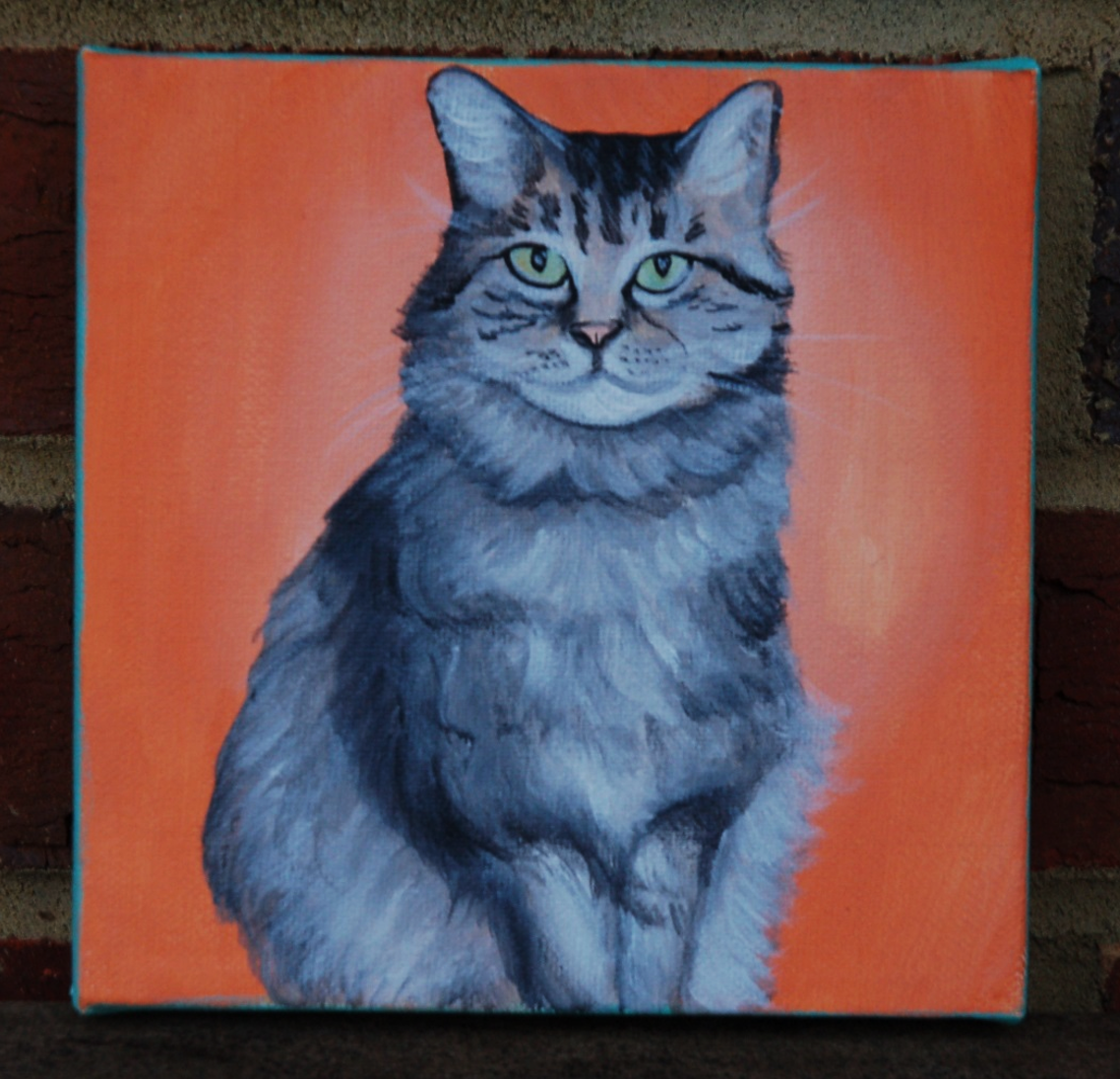 beautiful kitty cat portrait painting on canvas