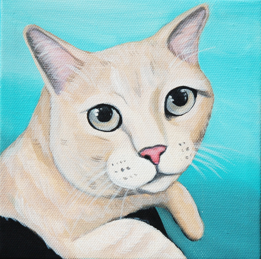 cat leaning painting