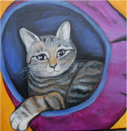 cat chilling painting