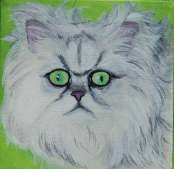 fluffy cat painting green eyes