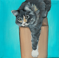 awesome cat arm hanging painting