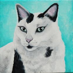 black and white cat custom pet painting portrait atlanta.png