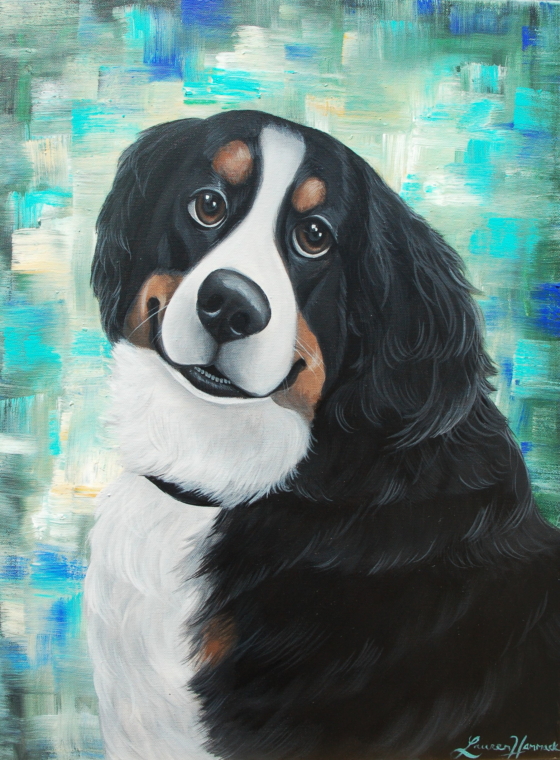 bernese mountain dog custom pet portrait canvas