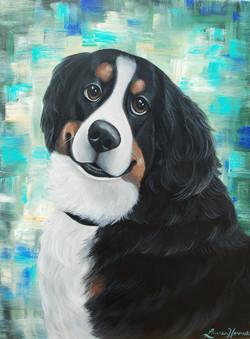 bernese mountain dog custom pet portrait canvas