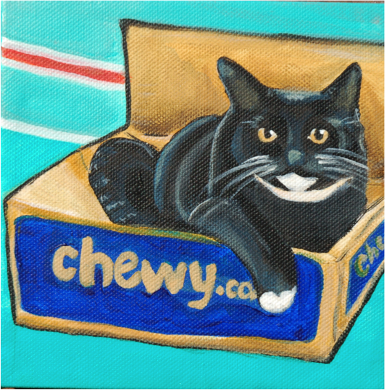 black cat painting laying in box