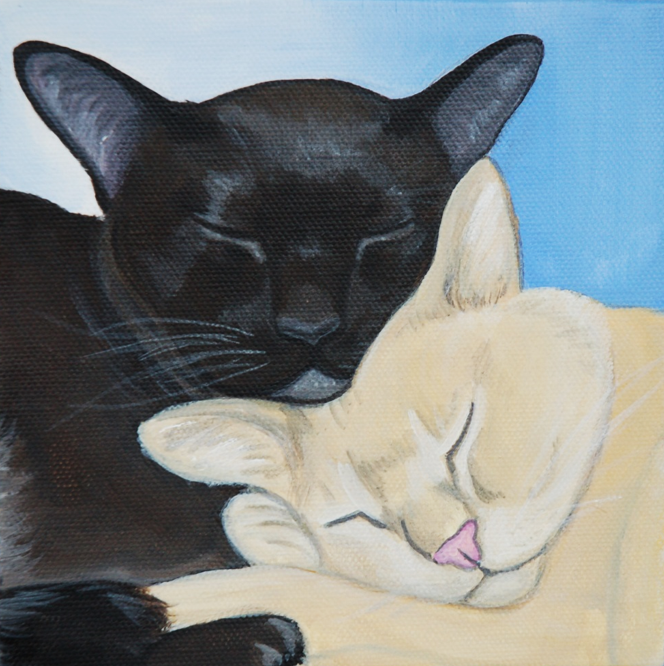 Sleepy cuddle cats portrait painting