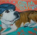 custom pet portraits, american bulldog painting, custom pet painting, beautiful american bulldog, cool gift ideas, bold painting of bulldog