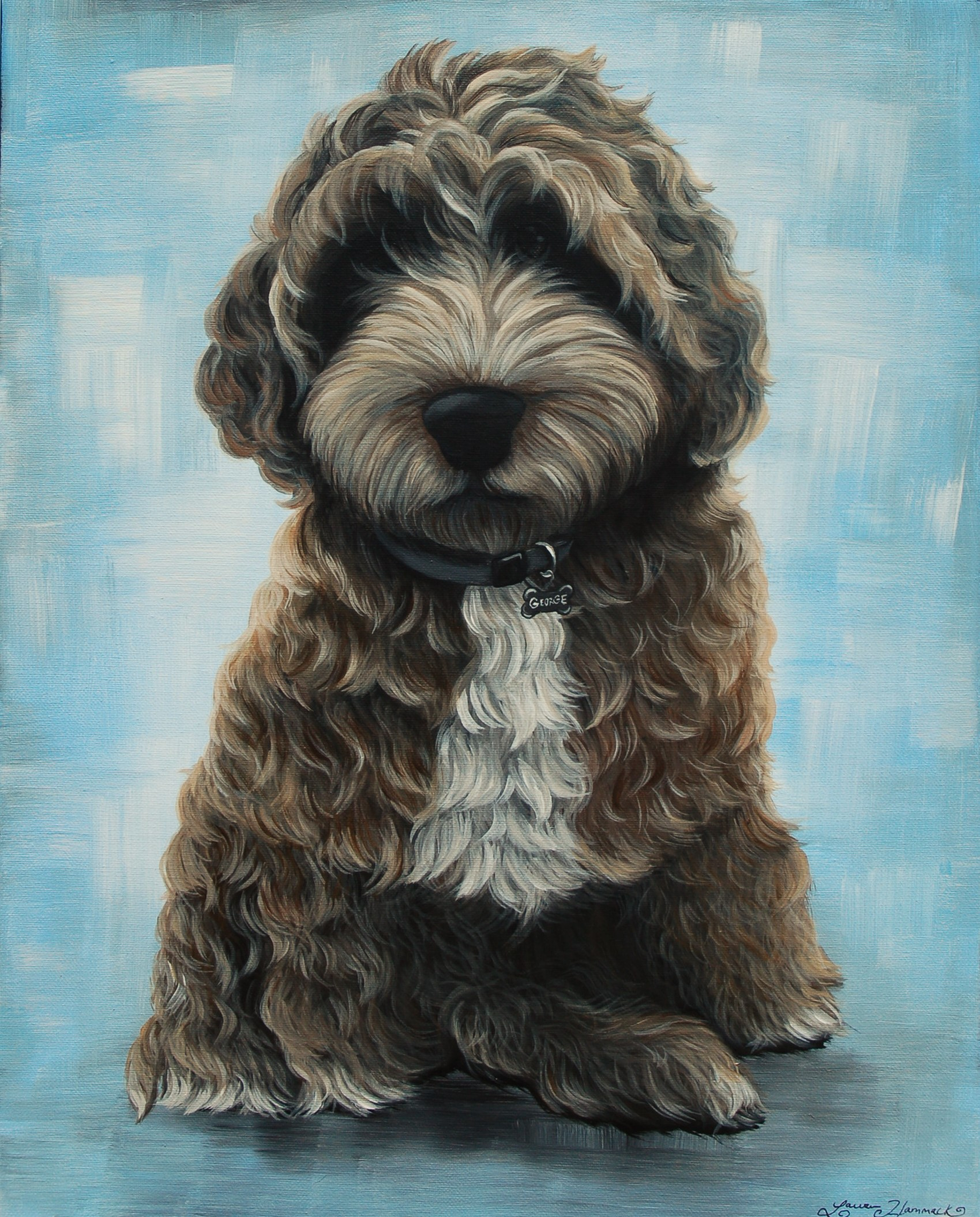 curious george cockapoo custom pet painting