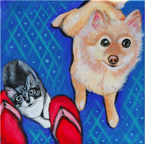 kitten and pomeranian painting