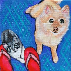 kitten and pomeranian painting