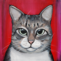 cute tabbycat painting red