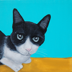 black and white kitty painting