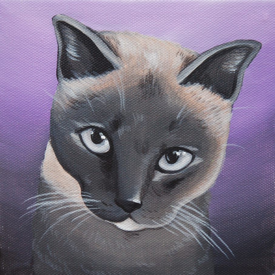 pretty siamese cat purple painting