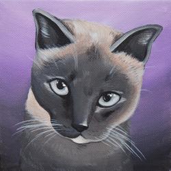pretty siamese cat purple painting