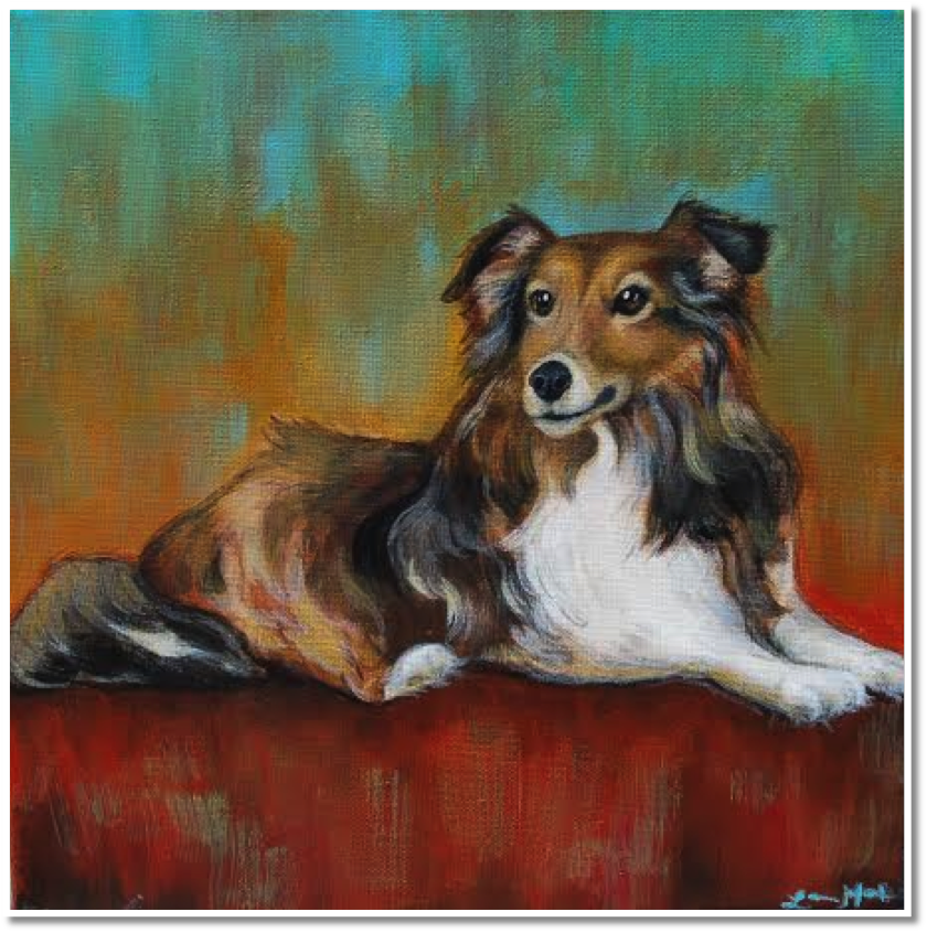 custom pet painting sheltie abstract
