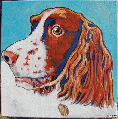 custom pet portraits, english springer spaniel custom painting, custom pet painting, custom pet portrait, off the wall paintings, custom springer spaniel painting, bright fun pet painting, bold colors painting, gift ideas, cool dog painting