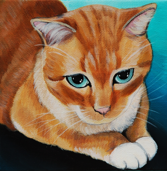 beautiful orange kitty painting