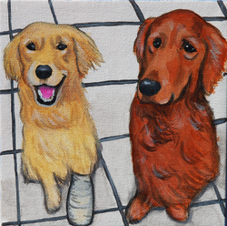 two golden retrievers on floor painting.png