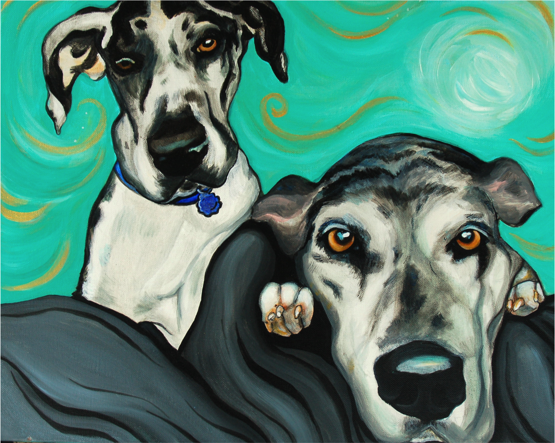 2 Great Danes Portrait Painting