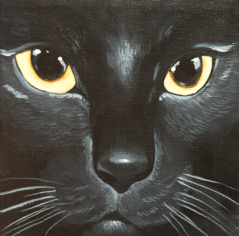 black cat face yellow eyes painting on canvas.png