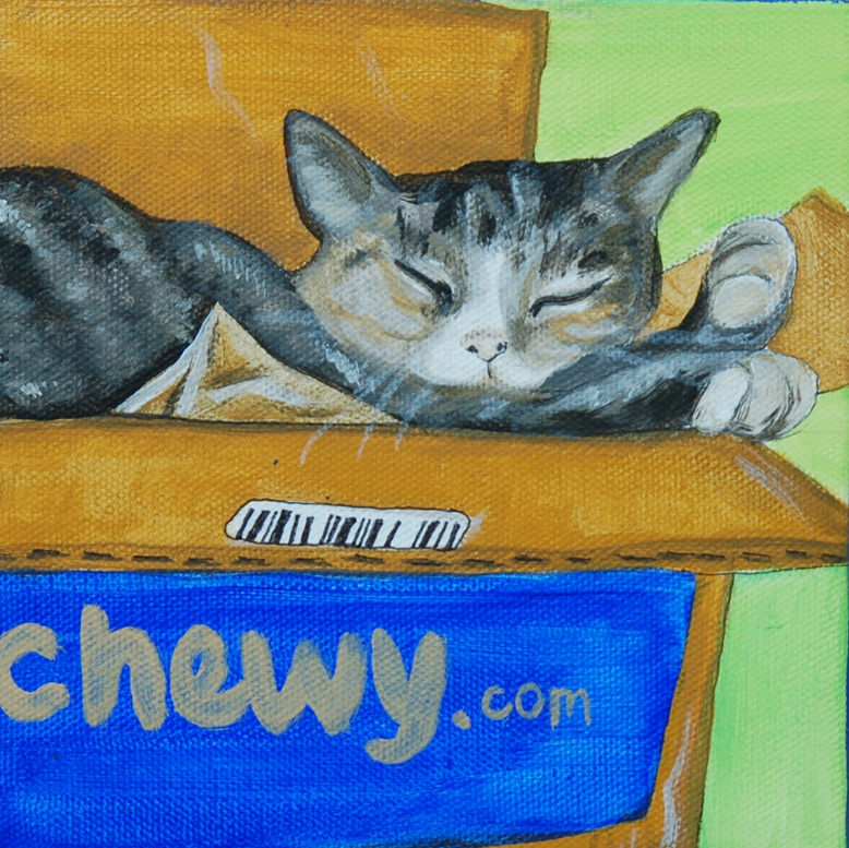 cute cat sleeping in box painting.png